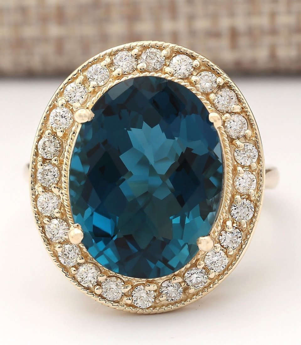 11.76 CTW Natural Topaz And Diamond Ring In 14k Yellow