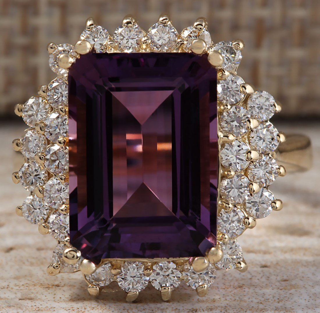 7.53CTW Natural Amethyst And Diamond Ring In 14K Solid