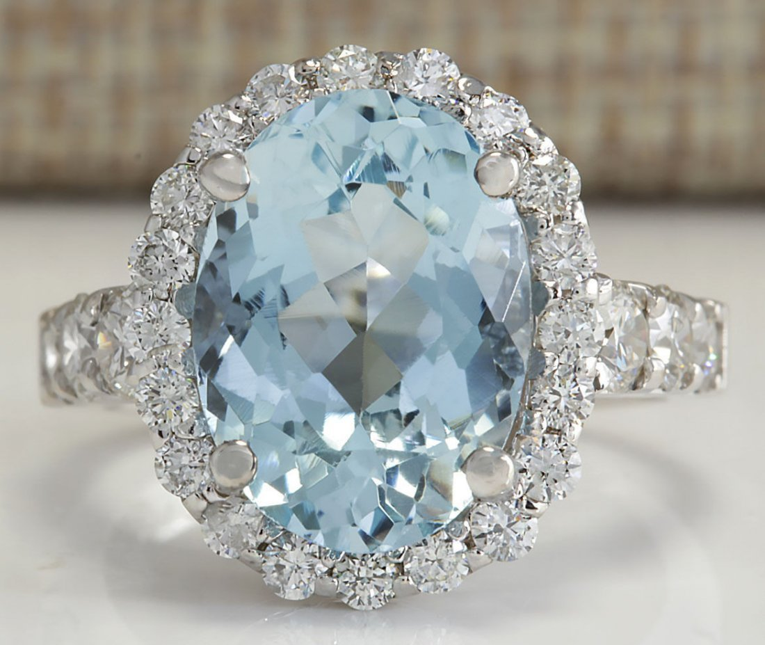 4.44CTW Natural Aquamarine And Diamond Ring In 14K