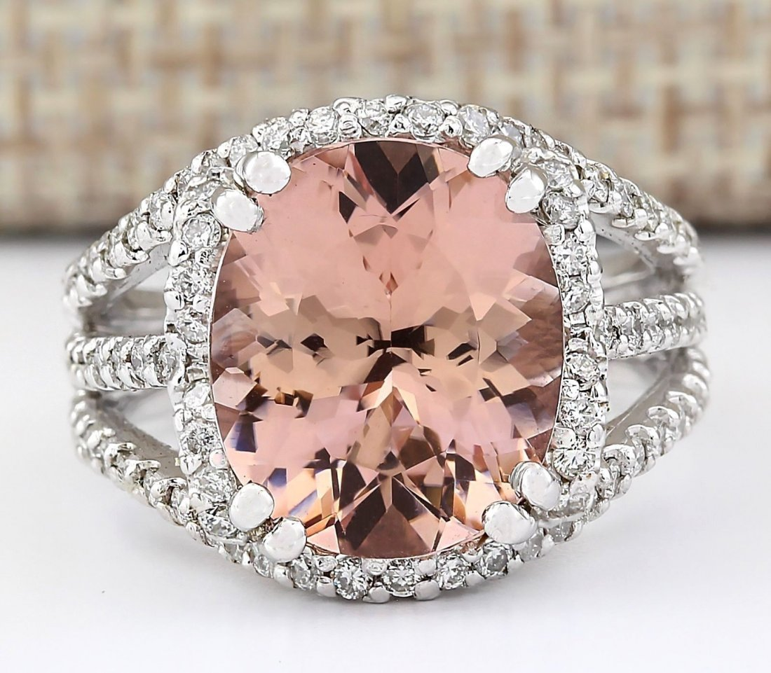 5.91 CTW Natural Morganite And Diamond Ring In 14k