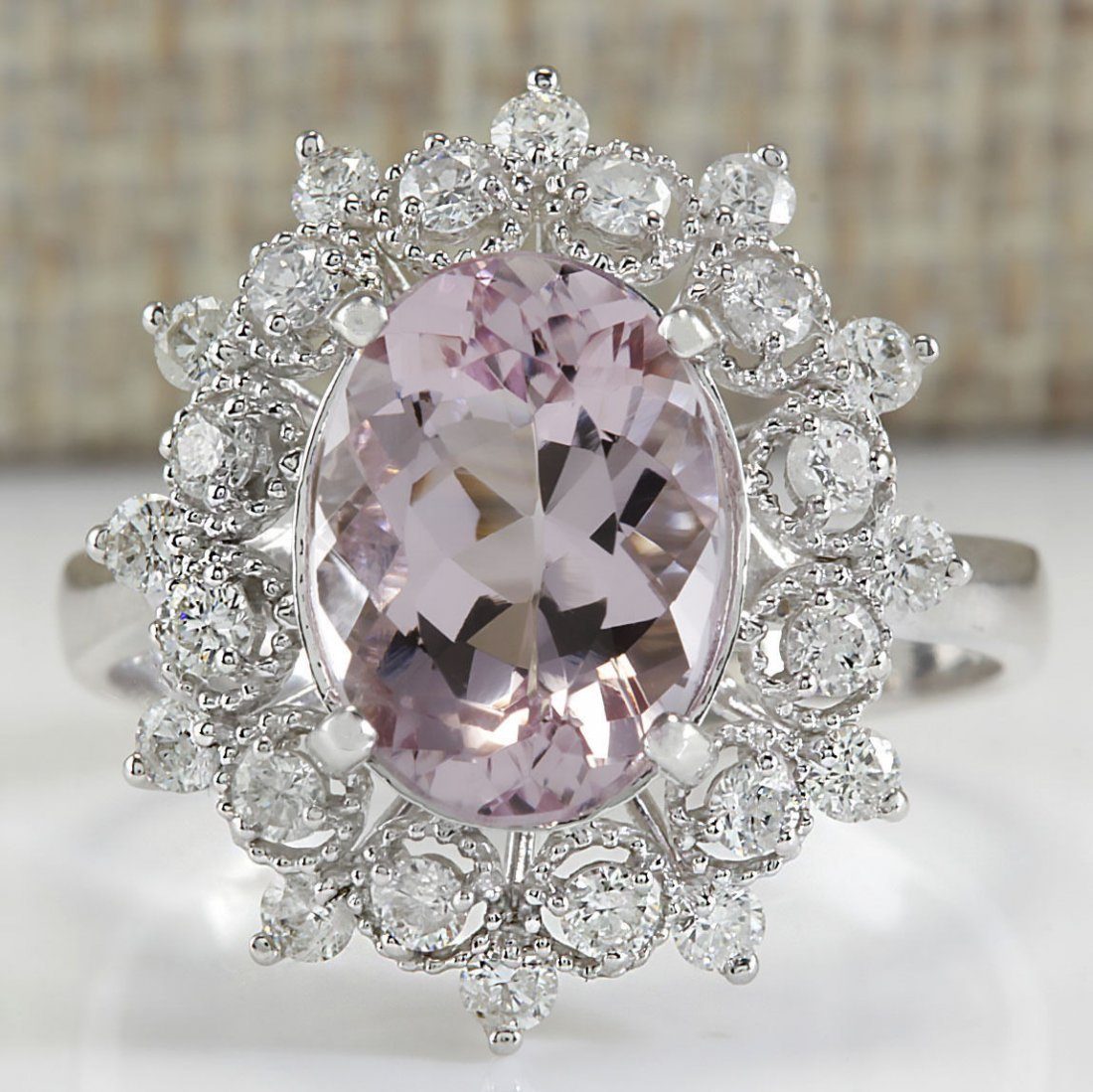 3.68CTW Natural Morganite And Diamond Ring In 14K White