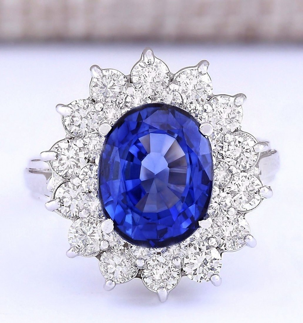 5.55 CTW Natural Blue Sapphire And Diamond Ring In 14k