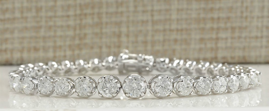 7.50CTW Natural Diamond Bracelet In 14K Solid White