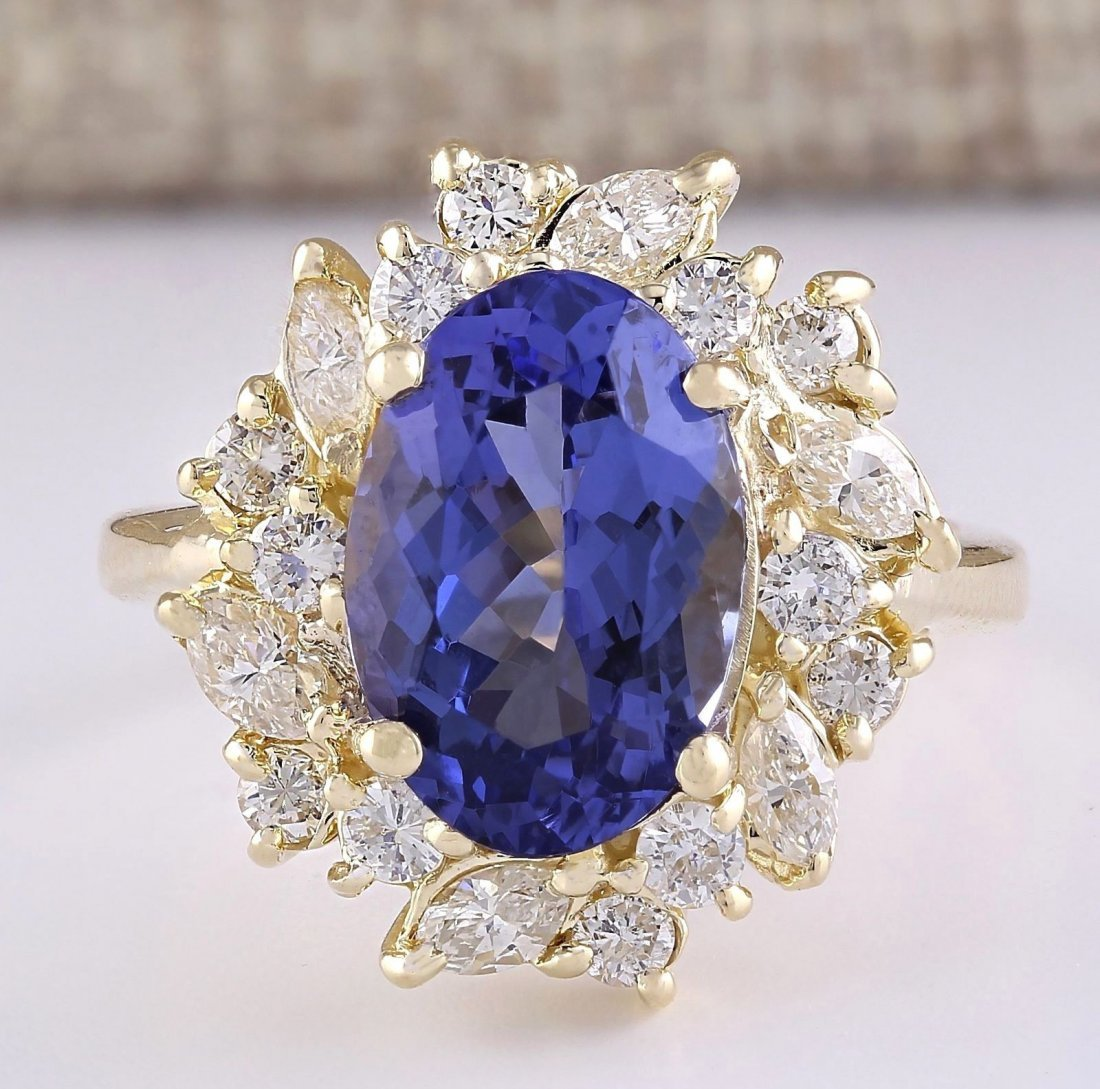 6.58 CTW Natural Tanzanite And Diamond Ring In 14k