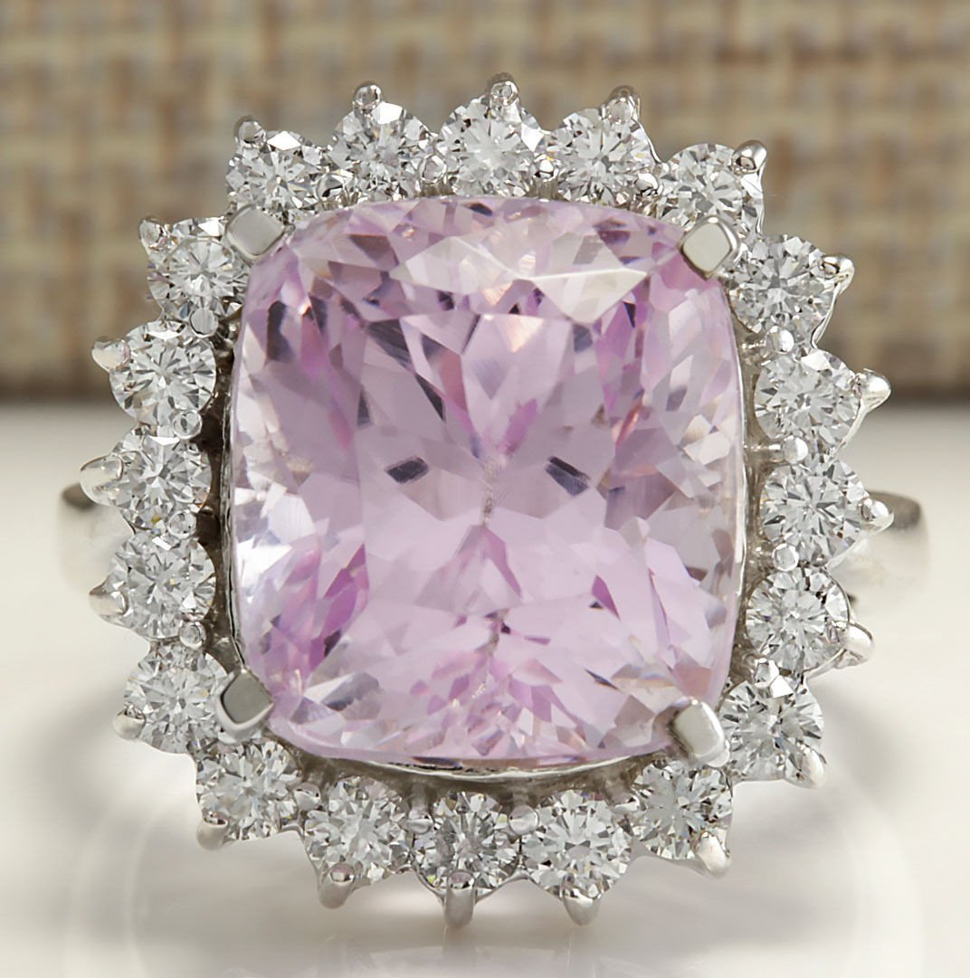 16.95CTW Natural Kunzite And Diamond Ring 14K Solid
