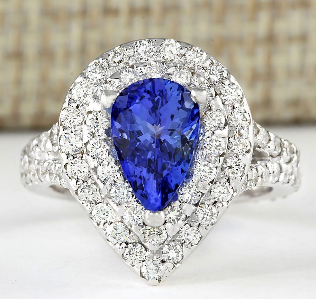 2.53 CTW Natural Blue Tanzanite And Diamond Ring 14k