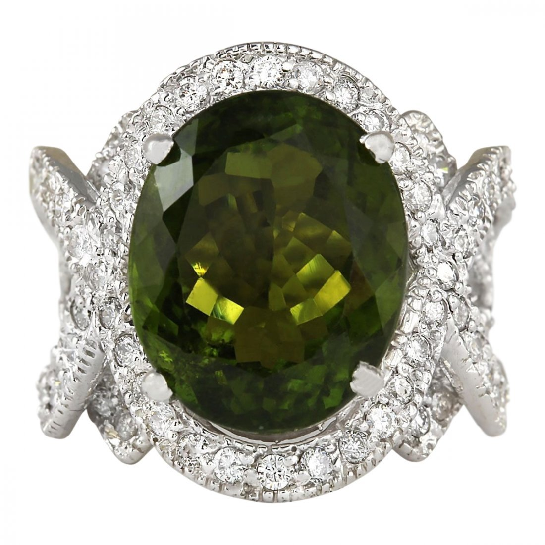 12.80 CTW Natural Green Tourmaline And Diamond Ring 14k