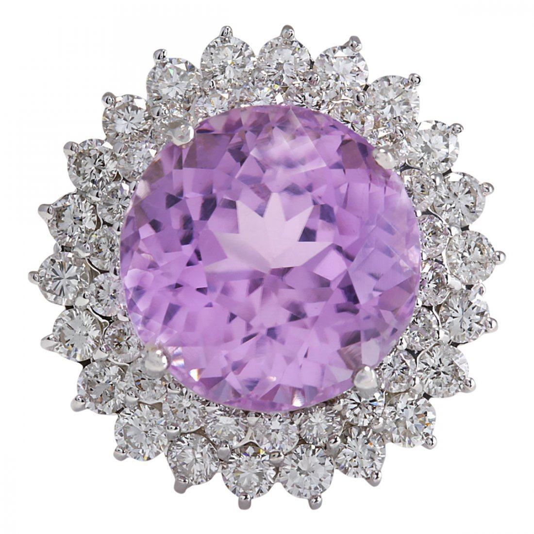 21.95 CTW Natural Kunzite And Diamond Ring 14K Solid