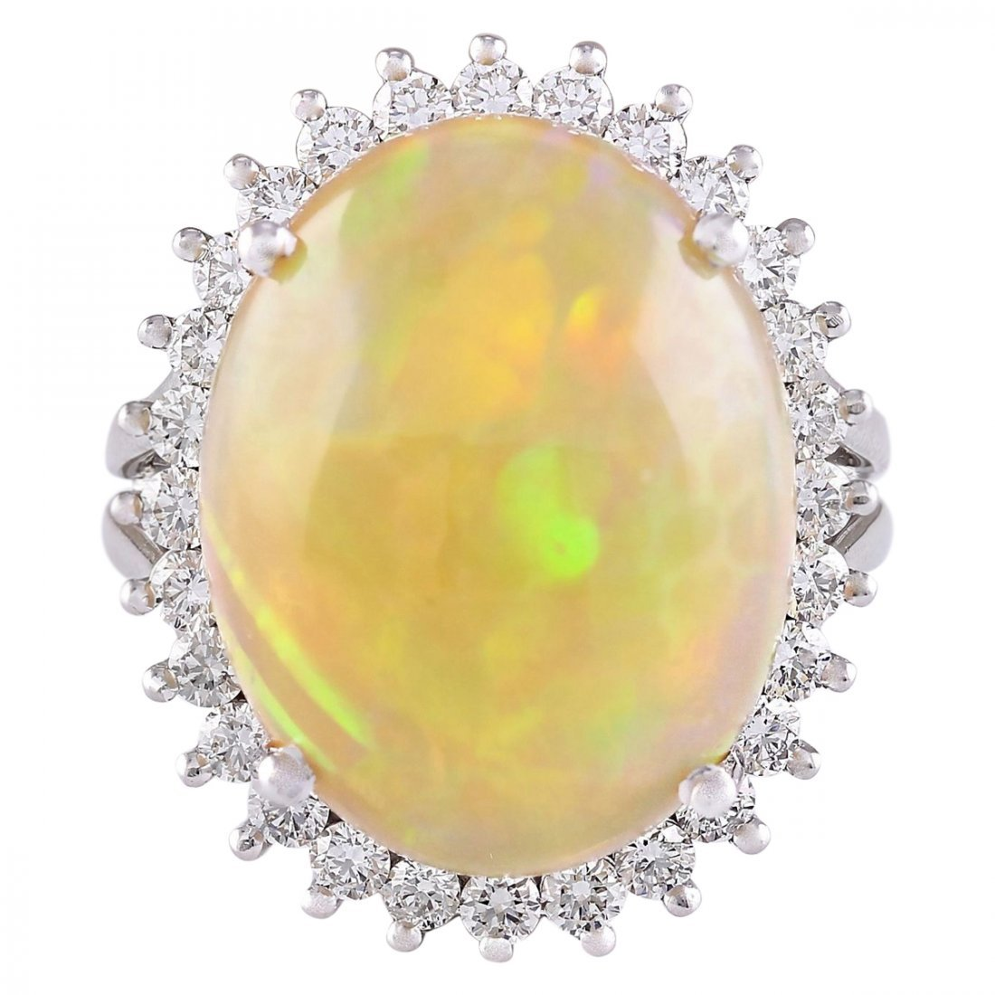 13.48 CTW Natural Opal And Diamond Ring In 14k White