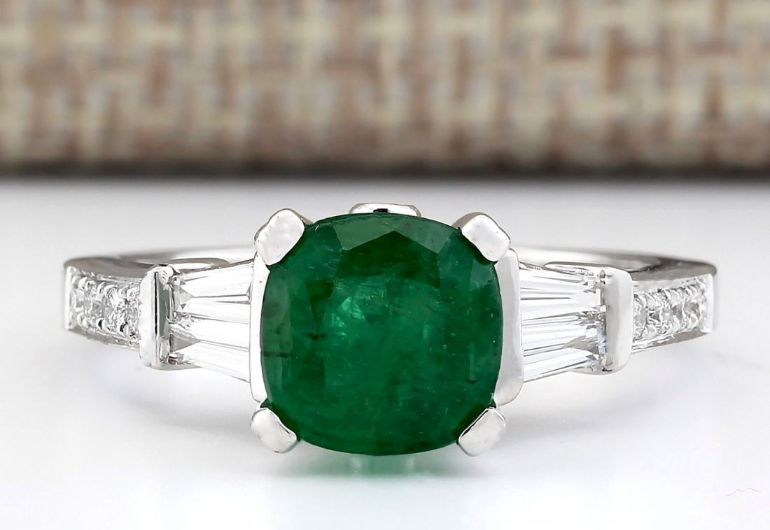 2.38 CTW Natural Emerald And Diamond Ring In 14k White