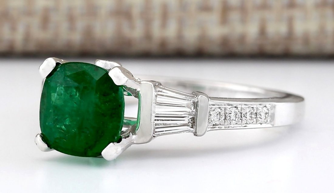 2.38 CTW Natural Emerald And Diamond Ring In 14k White - 2
