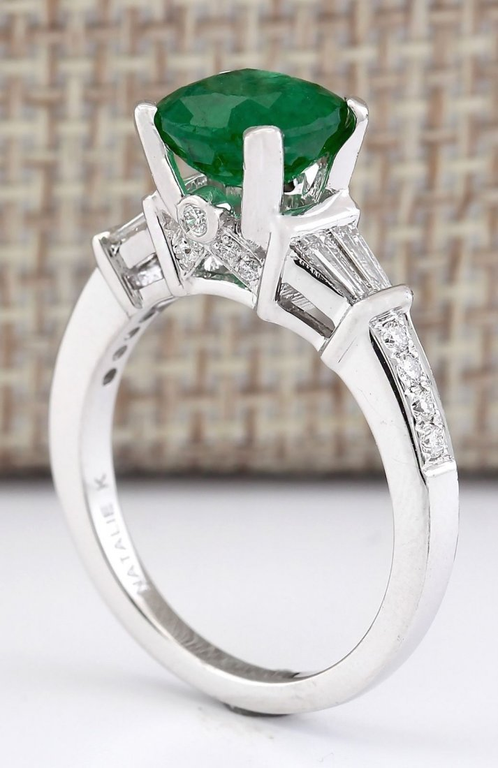 2.38 CTW Natural Emerald And Diamond Ring In 14k White - 3