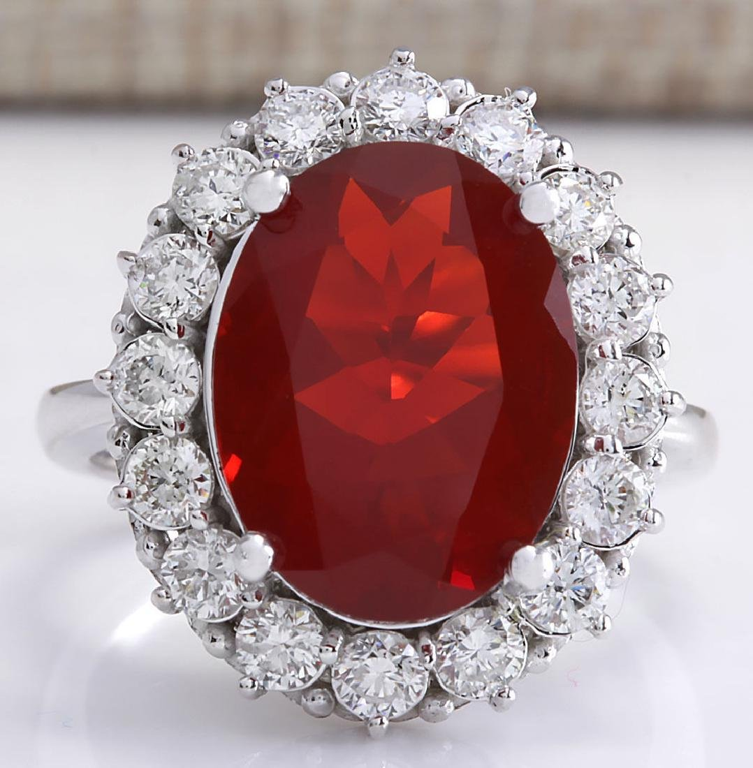 6.18CTW Natural Fire Opal And Diamond Ring 14K Solid