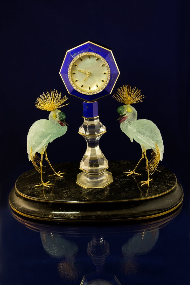 Hand carved Clock with Cranes from Aquamarin