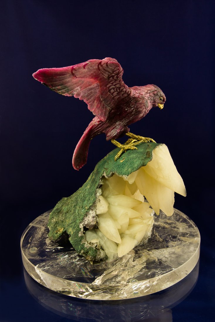 Falcon hand carved from Ruby on the Block of Calcite
