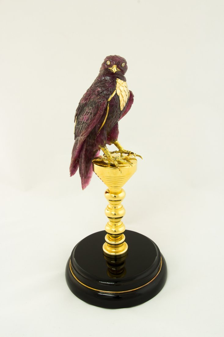 Falcon hand carved from red Tourmalin