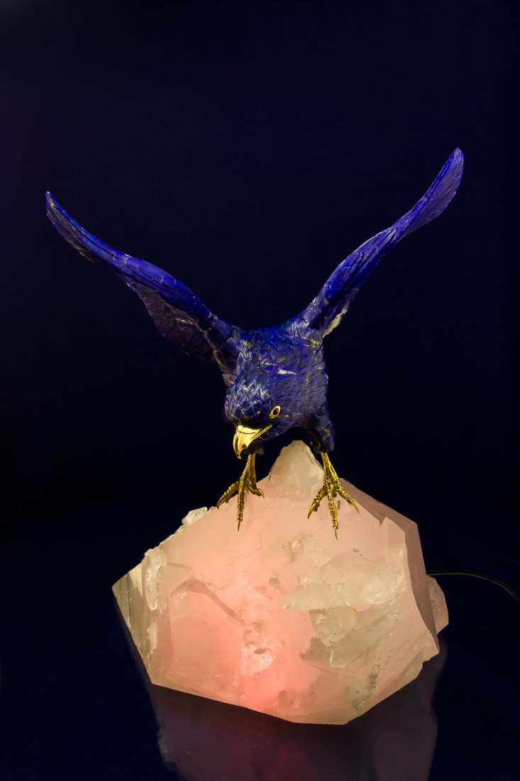 Falcon hand-carved from Lapis-Lazuri with lighting