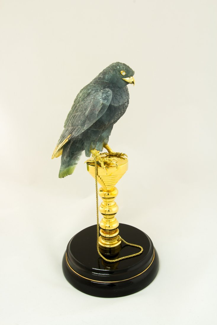 Falcon hand carved from green Tourmalin