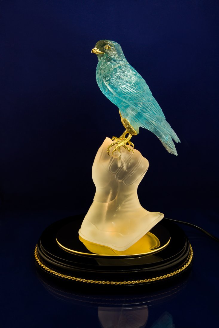 Falcon hand carved from Noble Topaz with Lighting