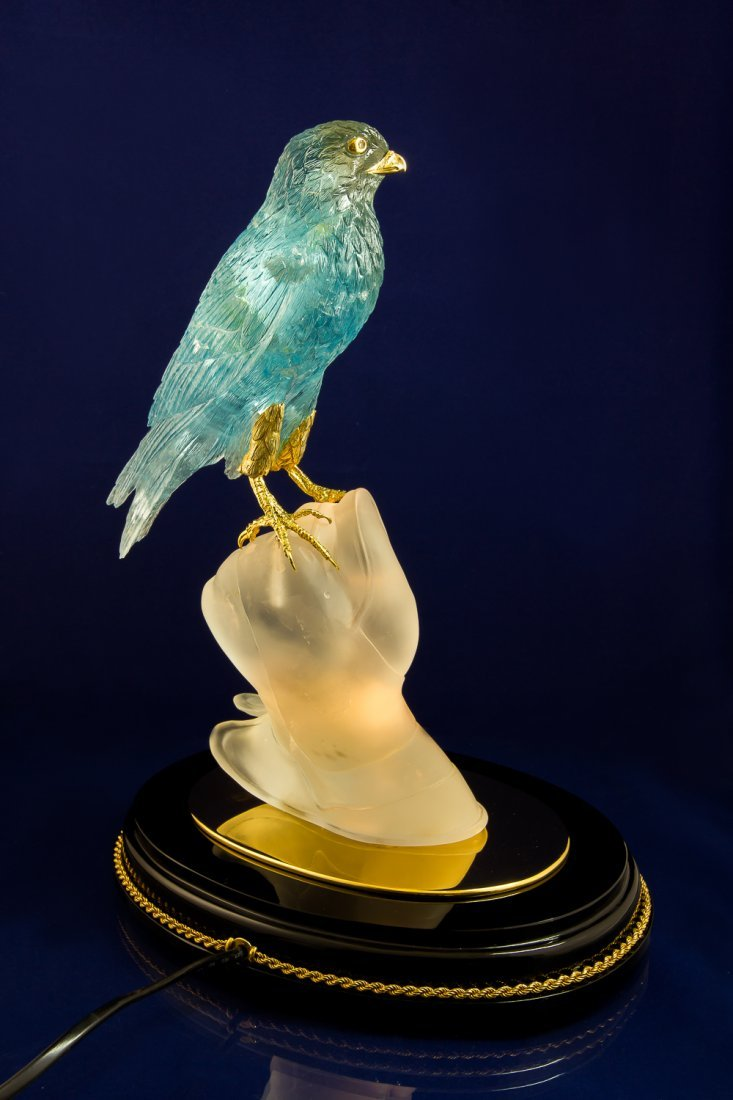 Falcon hand carved from Noble Topaz with Lighting - 3