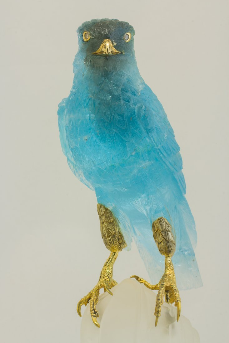 Falcon hand carved from Noble Topaz with Lighting - 4