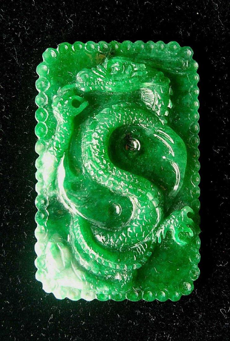 Jadeite Dragon hand-carved by Przemyslaw Kus