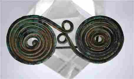 Ancient Greek Bronze Spectacle Brooch Fibula