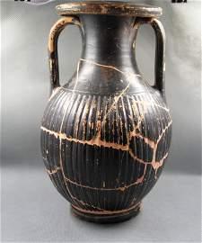 Ancient Greek Black - ware Striped Pelike