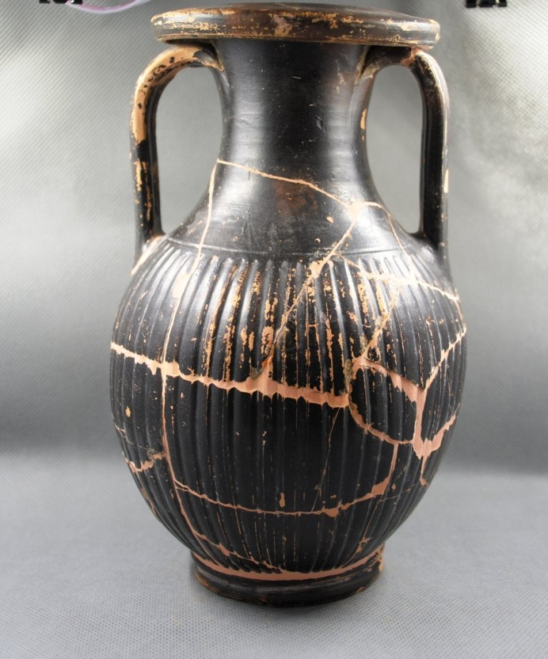 Ancient Greek Black - ware Striped Pelike