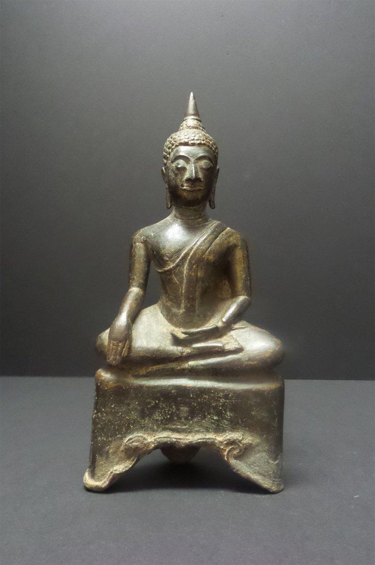 TANG DYNASTY TIBETAN-GILT BRONZE SEATED BUDDHA
