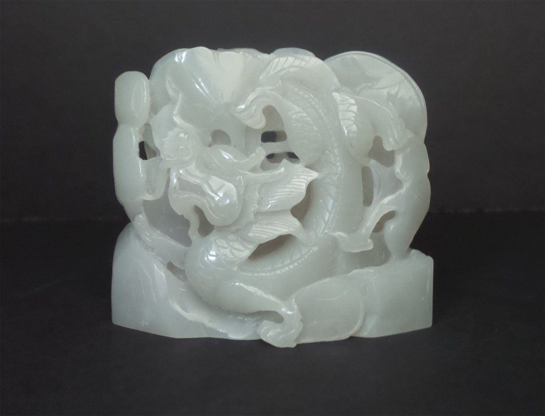 A HETIAN WHITE JADE CARVED DRAGON FURNISHONG ARTICLES