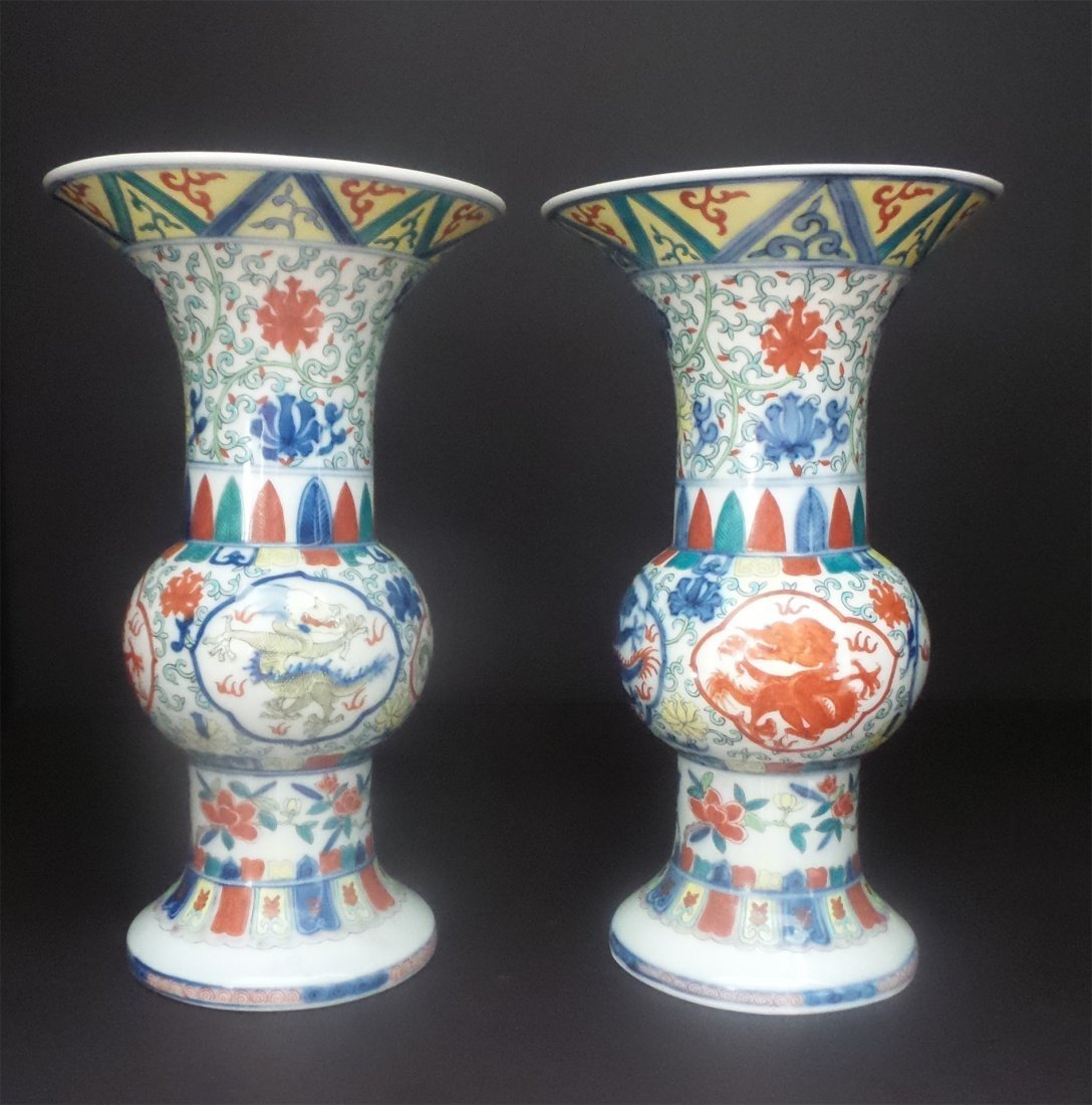 A PAIR FAMILLE ROSE VASES