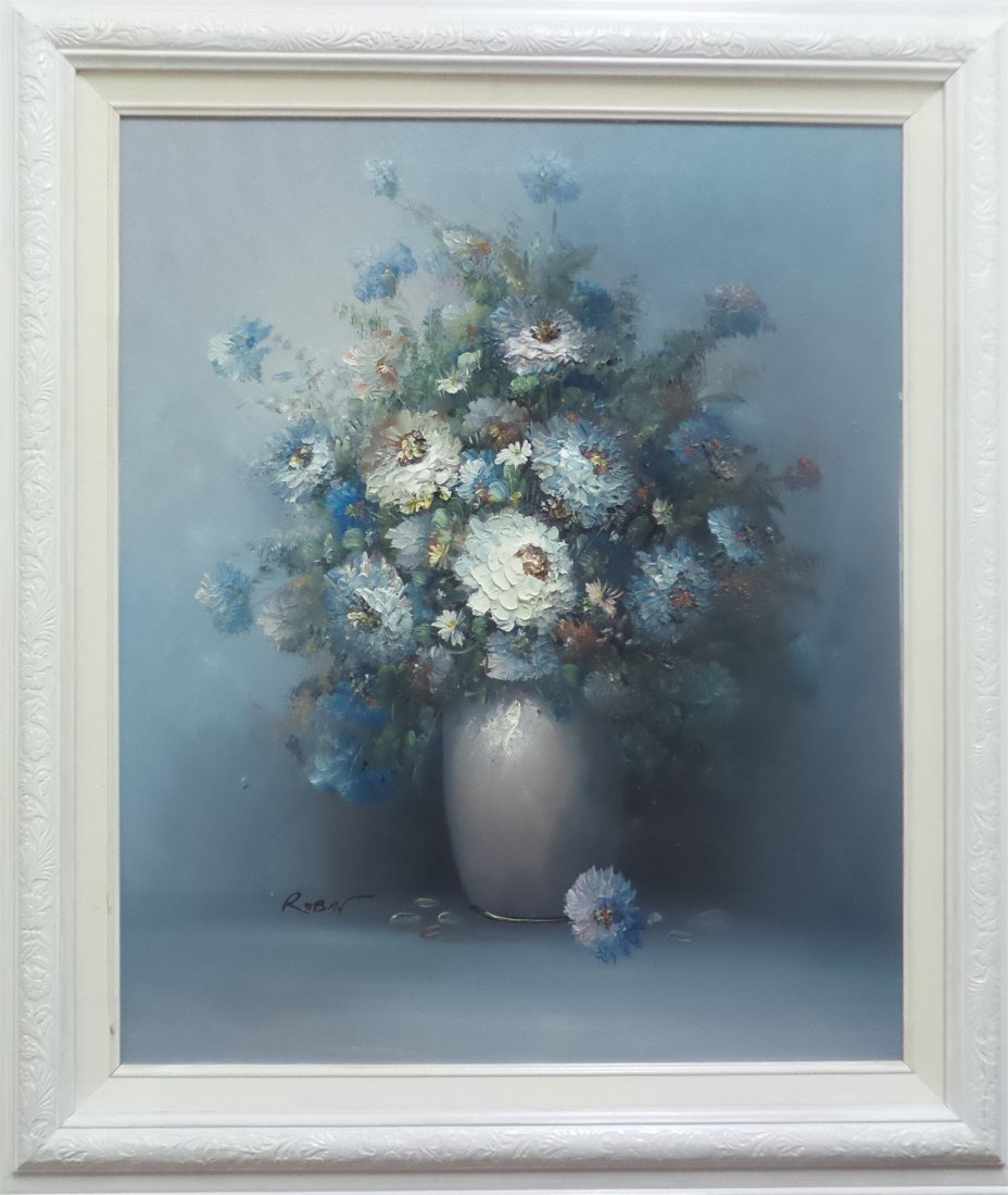 FLOWERS IN BLUE VASE,SIGNED ROBIN OIL PAINTING