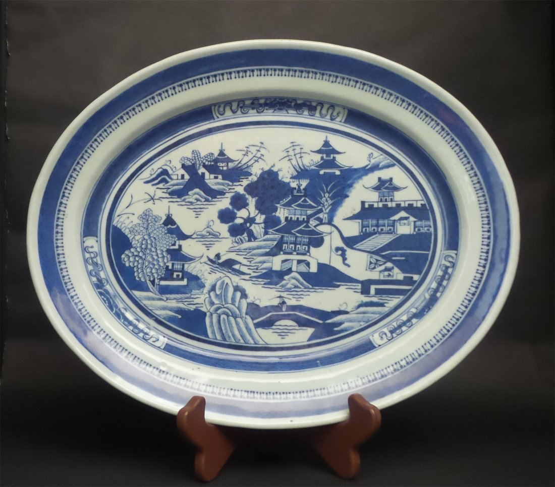 A Large Chinese Antique Blue & White Porcelain Plate