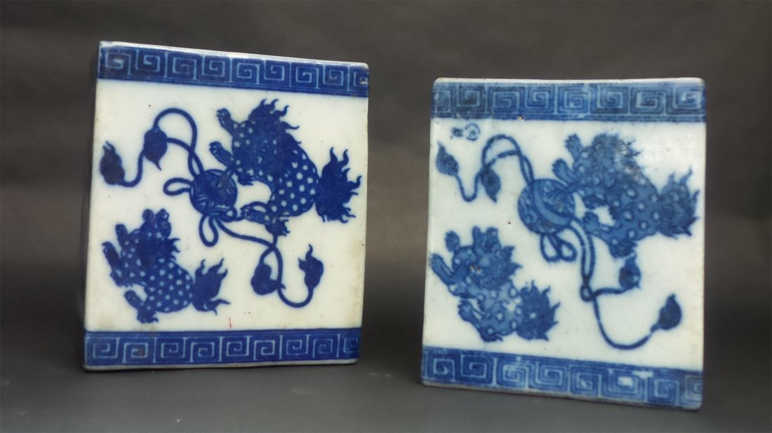 A Pair Chinese Antique Blue & White Porcelain Pillow