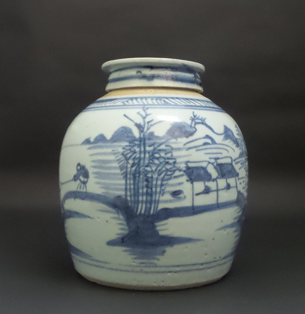 EARLY QING DYNASTY BLUE AND WHITE TANK