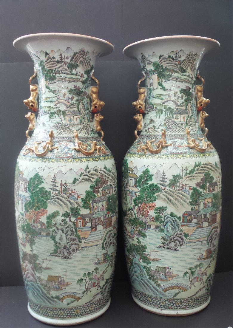 20th CENTURY EARL A PAIR OF FAMILLE — ROSE LARGE VASES