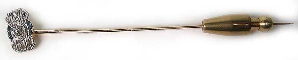 1020: Antique Gold Platinum Diamond  Pin