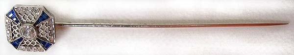 1023: Victorian Platinum Diamond Sapphire Pin
