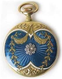 1210: Antique Gold Enameled Pocket Watch