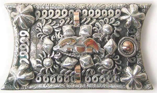 1251: Vintage Sterling Gold Brooch Rare