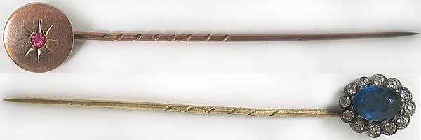 1257: Antique Gold Victorian Hat Pins