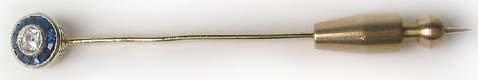 1264: Victorian Antique Gold Diamond Hat Pin