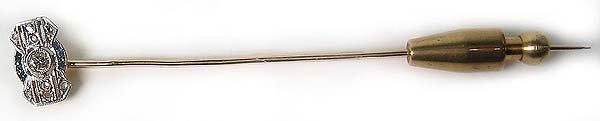 1269: Antique Gold Platinum Diamond  Pin