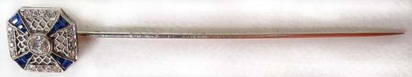 1272: Victorian Platinum Diamond Sapphire Pin