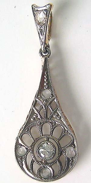 1274: Antique art Noveau Gold Diamond Pendant