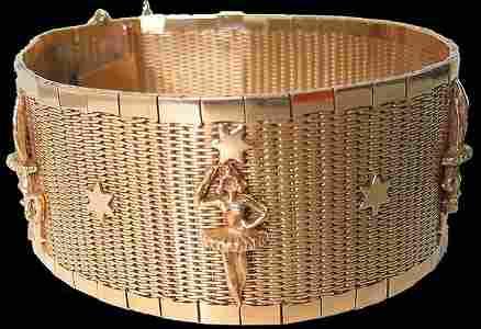 1438: Nice Vintage Art Deco Red Gold Bracelet