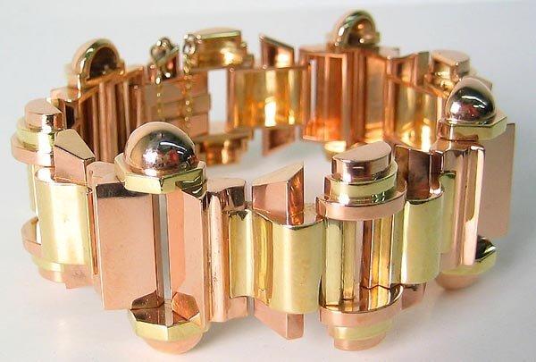 1439: Unique Vintage Art Deco Gold Bracelet