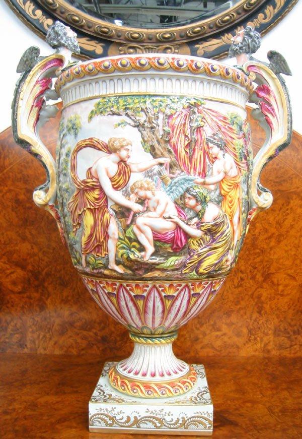 1778: Antique porcelain amphora urn with handles