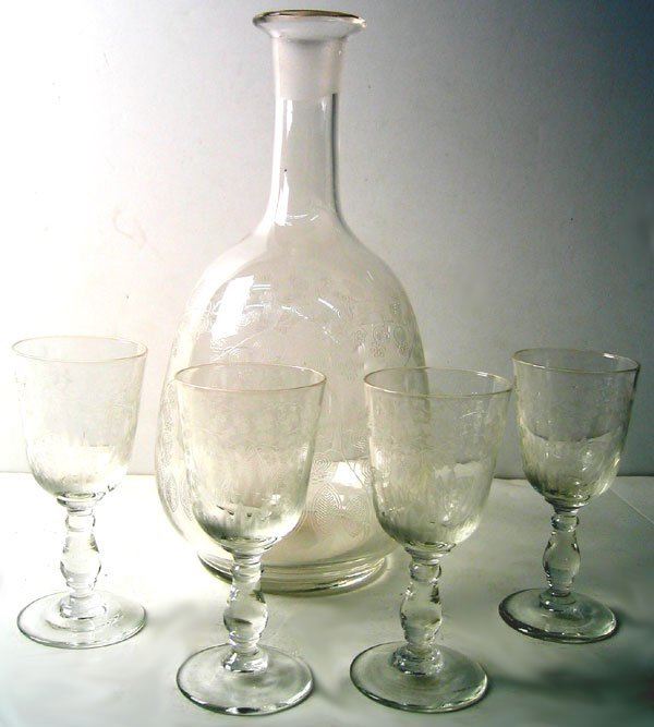 1956: 1940s Art Deco engraved decanter